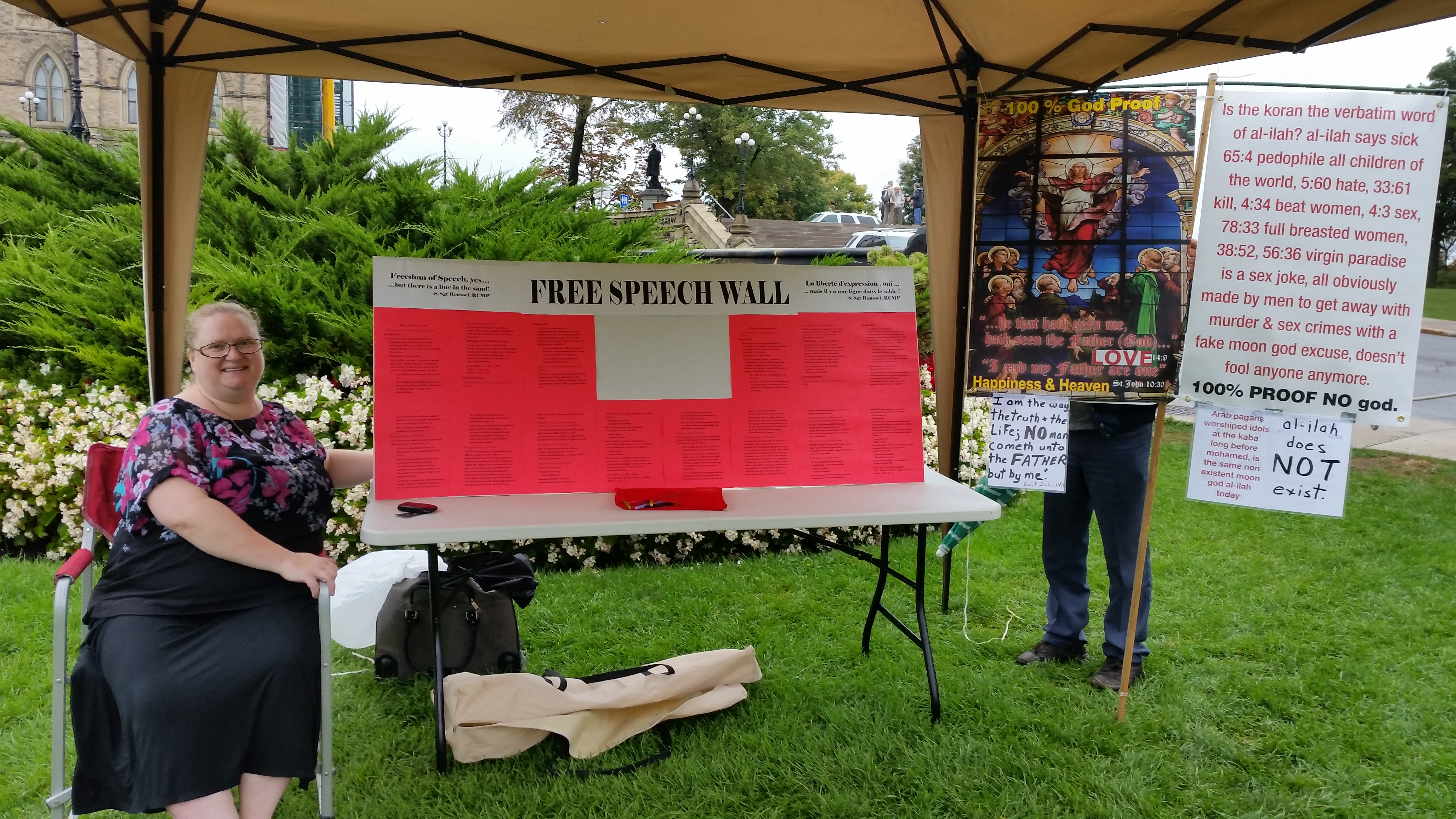 Free speech booth and another unrelated demo guy