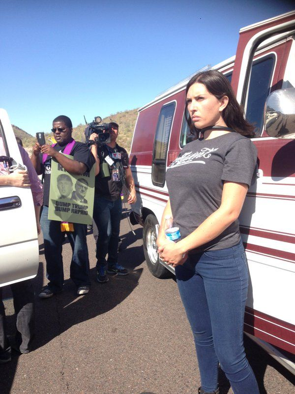 "LEAD ORGANIZER Who Shut Down Hwy to TRUMP RALLY Is ""Soros Fellow"" from New Orleans Jim Hoft Mar 20th, 2016 2:32 pm 124 Comments Yesterday Far left open border activists SHUT DOWN THE HIGHWAY leading to the Trump rally in Fountain Hills, Arizona for two hours. The protesters parked their trucks across the highway to block traffic. highway still shut down Only three protesters were arrested. Where were the paddy wagons? The lead protester who chained her neck to a pickup truck was Jacinta Gonzalez from New Orleans. Jacinta shut down traffic for two hours in Arizona. Jacinta Gonzalez is a trained community organizer and Soros Fellow from Mexico"
