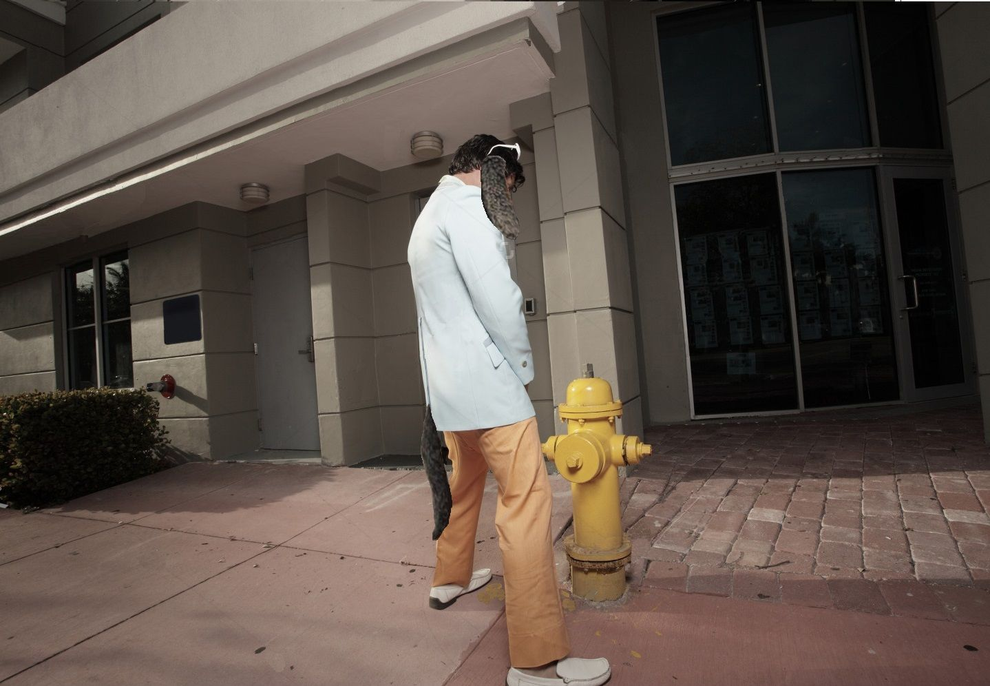 man peeing on fire hydrant