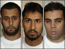 (L to R) Tanvir Hussain, Abdulla Ahmed Ali and Assad Sarwar were found guilty