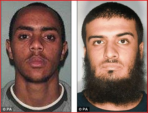 Released: Esayas Girma (left) was jailed for helping a 21/7 suicide bomber and Abu Baker Mansha (right) was caught carrying a converted pistol and the name and address of an Army corporal