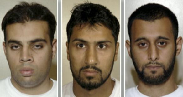 From left, Assad Sarwar, 29, Abdulla Ahmed Ali, 28, and Tanvir Hussain, 28, were all found guilty of conspiring to murder crew and passengers on transatlantic flights by detonating explosives on aircraft by a London jury Monday. (CBC)