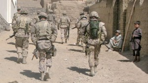 Canadian soldiers walk through a village of Charbagh in Kandahar City, Afghanistan on Sunday Oct. 3, 2009. (CP / Bill Graveland)