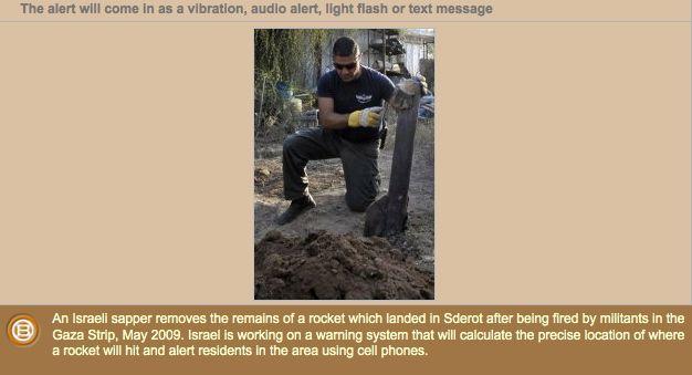 cell phone rocket alert