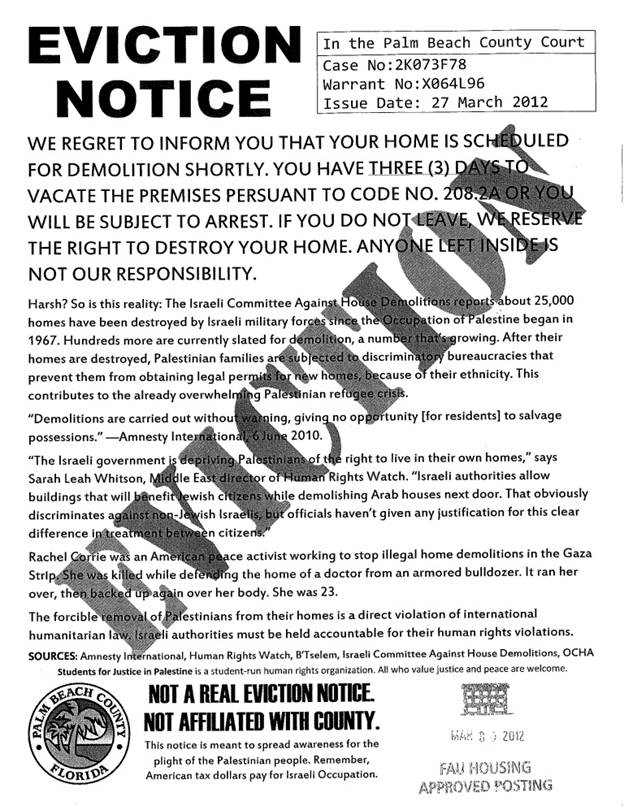 Zionist Org Of America press release on the fake eviction notices – How to Make a Eviction Notice