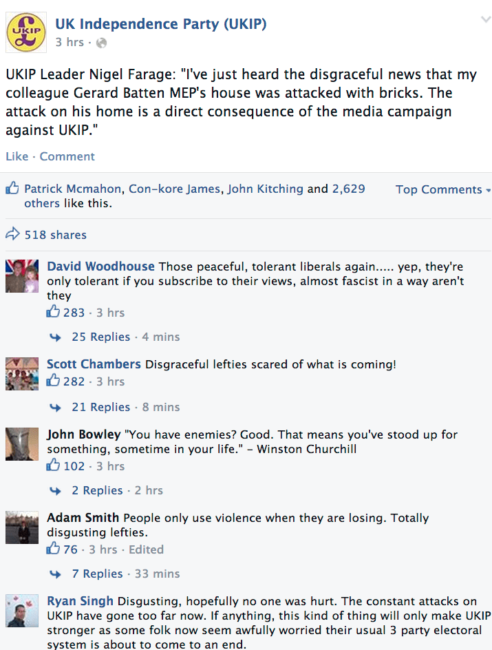 UKIP MEP house attacked Facebook